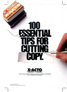 Xacto knives were customized to each artist.